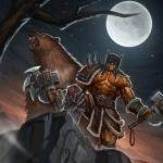 Повелитель зверей Рексар из вселенной Варкрафт на фоне луны