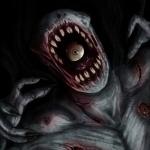 Страшный монстр с глазами под кожей и в пасти