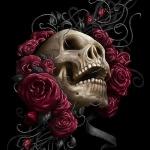 Череп в окружении красных роз на чёрном фоне