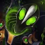 Rubick с большими зелёными глазами в Dota 2