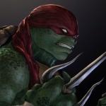 Рафаэль со стиснутыми зубами и саями в зелёных лапах
