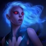 Красноглазая Vengeful Spirit со светящимися волосами в Dota 2