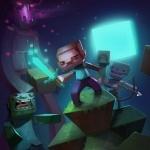 Игрок Minecraft ночью обороняется от враждебных мобов