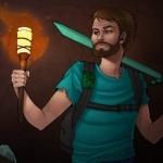 Бородатый мужчина с алмазным мечом и факелом