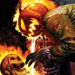 Джек-Фонарь с горящей тыквой сражается против Призрачного гонщика