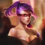 Девушка с фиолетовыми волосами и повязкой на глазах