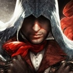 Ассасин Арно Дориан в красном шарфе из Assassin's Creed: Unity