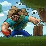 Накаченный герой Minecraft разбивает огромными кулаками деревья и лица зомби