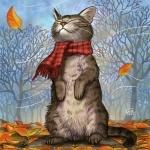Кот в шарфе стоит на задних лапах