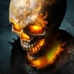 Призрачный гонщик в адском пламени в черепе