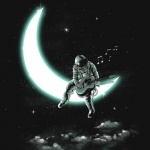 Космонавт с гитарой сидит на луне