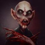 Страшный вампир с кровью на лице и длинных пальцах