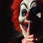 Клоун с пальцем у рта