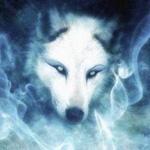 Белый волк окружён дымом