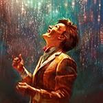 Мужчина с радостью смотрит на сыплющиеся с неба блестяшки