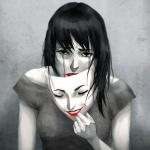 Плачущая девушка снимает маску радости