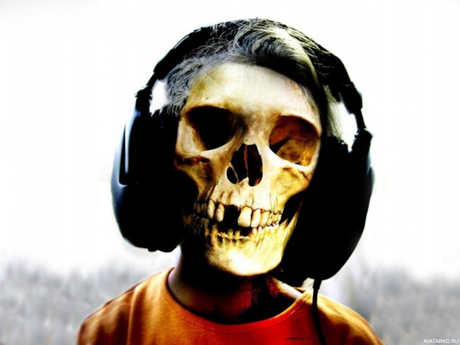 Картинка 900x675 | Картинка с черепом в наушниках, музыка для скелетов | Череп, Музыка, Наушники, фото