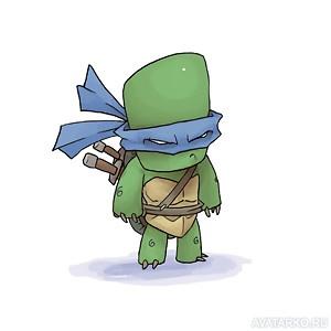 Черепашка-ниндзя Леонардо стоит в полный рост с ...