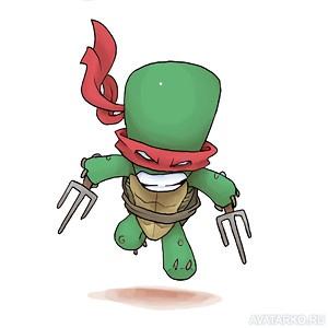 Черепашка-ниндзя Рафаэль прыгает со злым выражением лица ...
