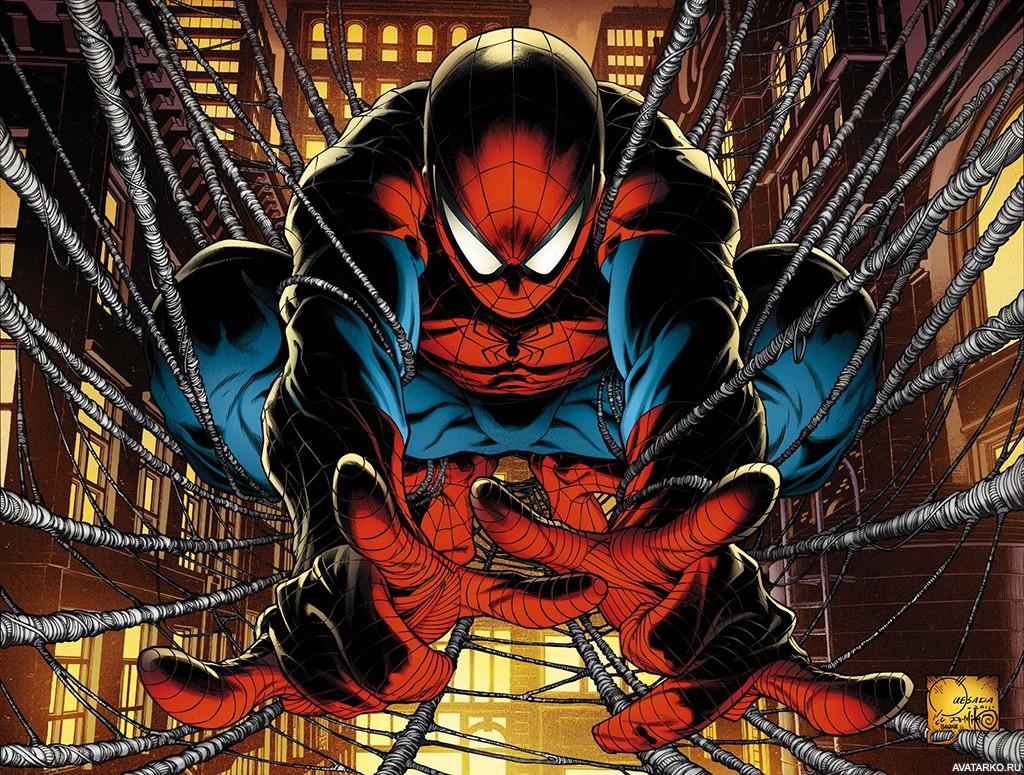 Человек-паук сидит на паутине, которую сплёл между домами ...