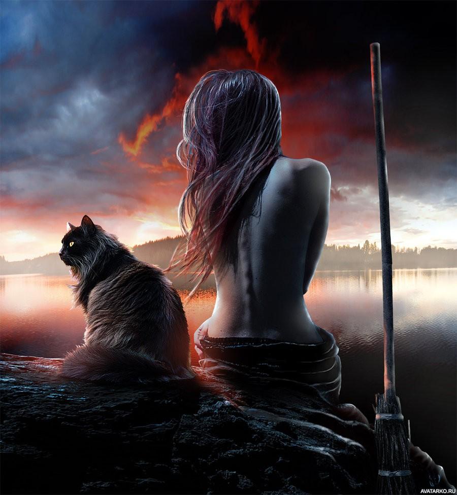 ведьма с кошкой фото волшебством подразумевается пластика