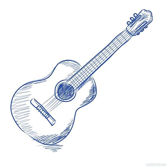 Рисунки гитары для срисовки