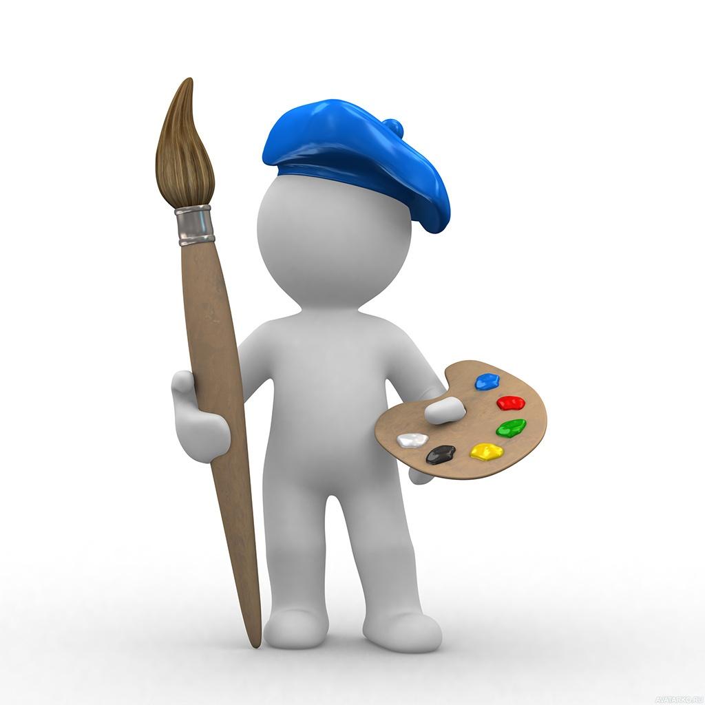 Картинка с человечком с кистью, палитрой и синим беретом на голове — Арт  картинки