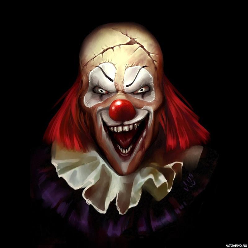 Картинка 554x640 | Страшный лысый клоун с широкой улыбкой на аватар | Ужасы, Клоуны, фото