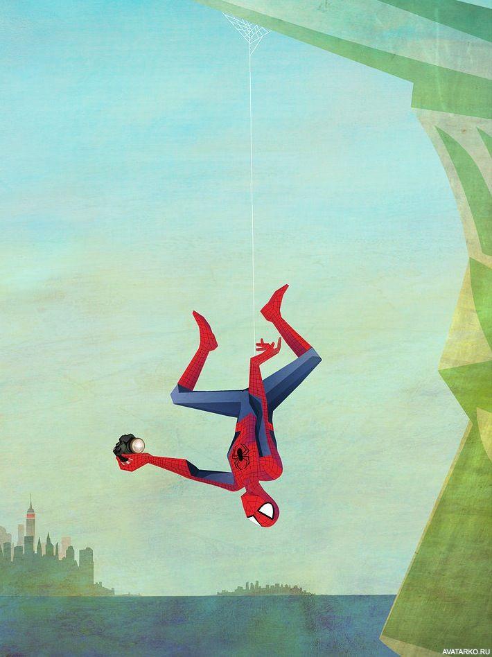 Арты с человеком пауком висящем на паутине