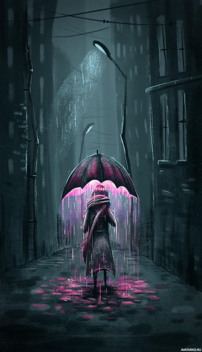 Фото на аву девушка и дождь