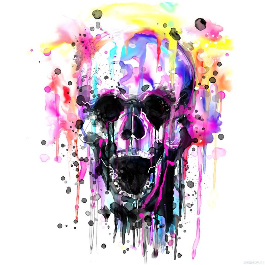 Картинка черепа красками