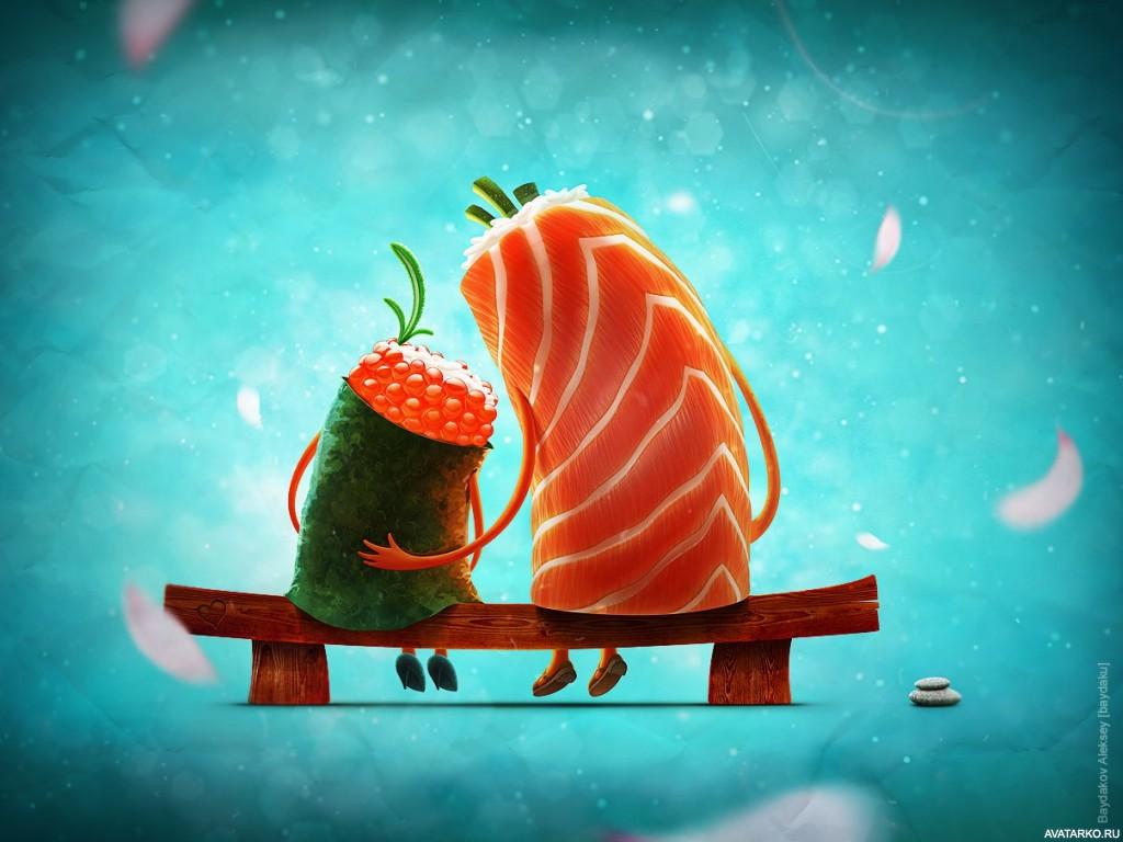 Обезьяны, суши смешные рисунки