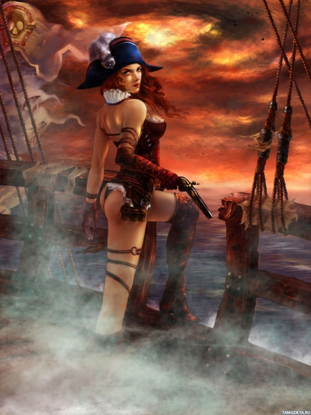 Голая девушка пиратка мастурбирует, смотреть онлайн отлично сосет на сцене