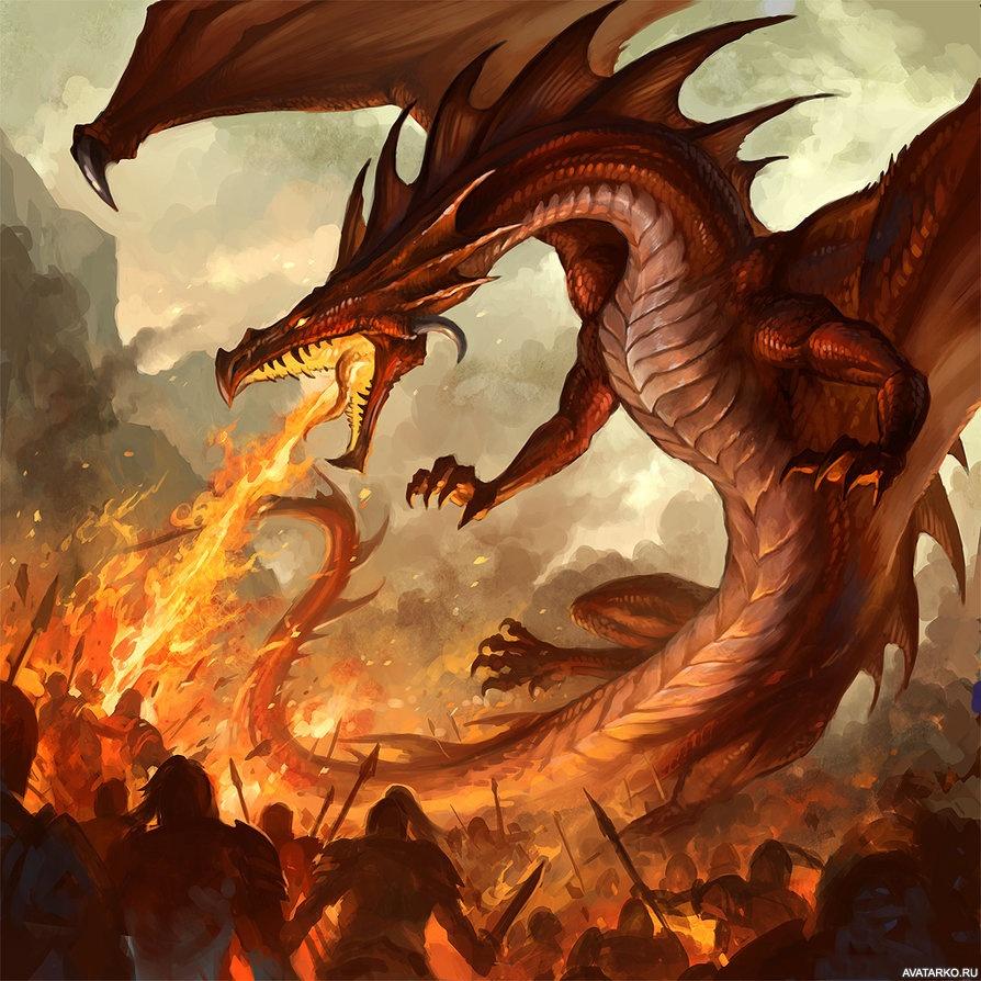 картинки огня из пасти дракона толстая