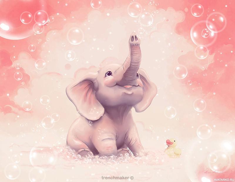 Поздравительные открытки со слониками