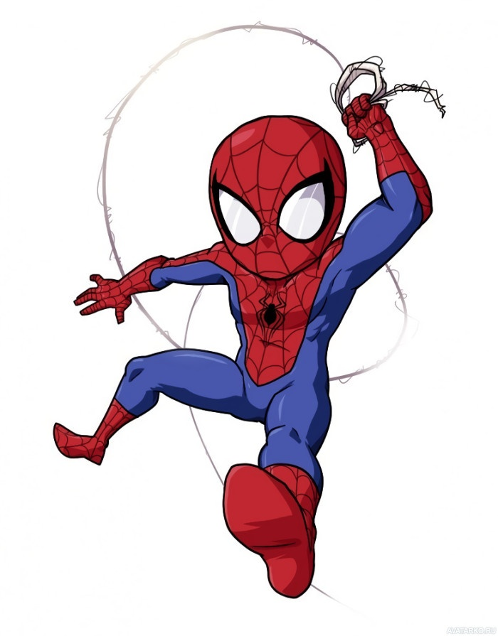 Человек-паук падает на белом фоне — Аватары и картинки