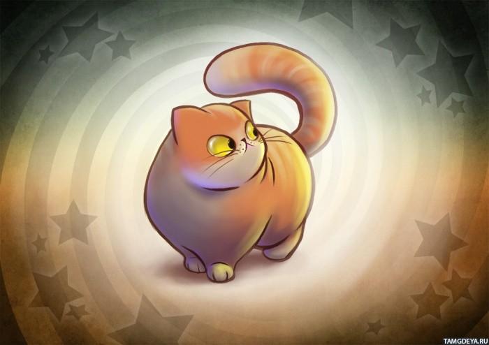 Картинка, смешной толстый кот рисунок