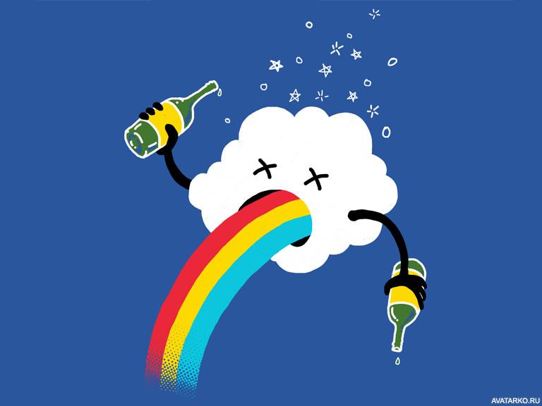 Прикольные, смешные картинки с радугой