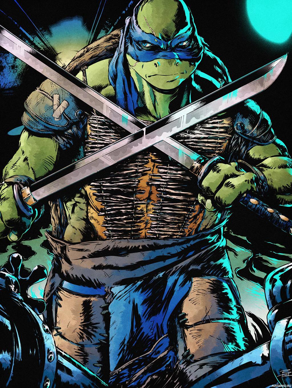 Черепашка-ниндзя Леонардо со скрещенными у груди мечами ...