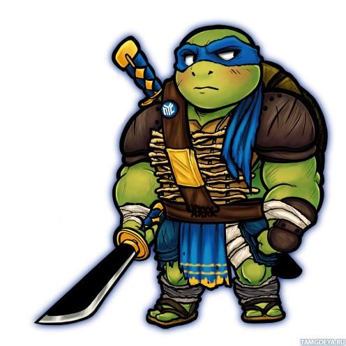 Черепашка-ниндзя Леонардо с красными щеками и мечом в руке ...