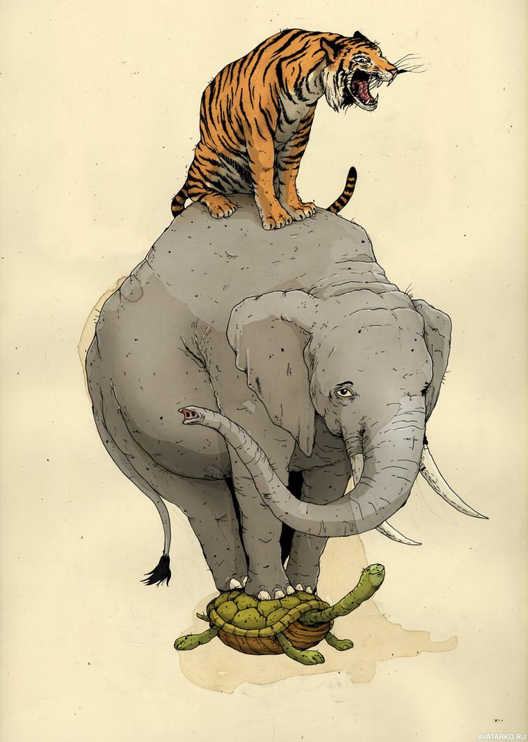 Тигры и слоны картинки для