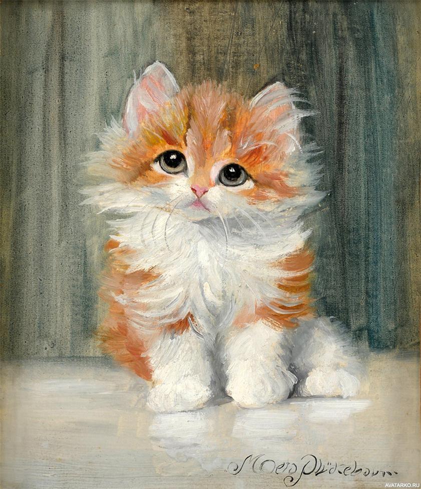 Картинки с котами рыжими рисованные