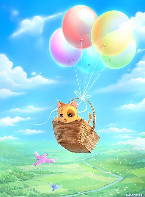 картинки с днем рождения котик с шариками выступала под флагом